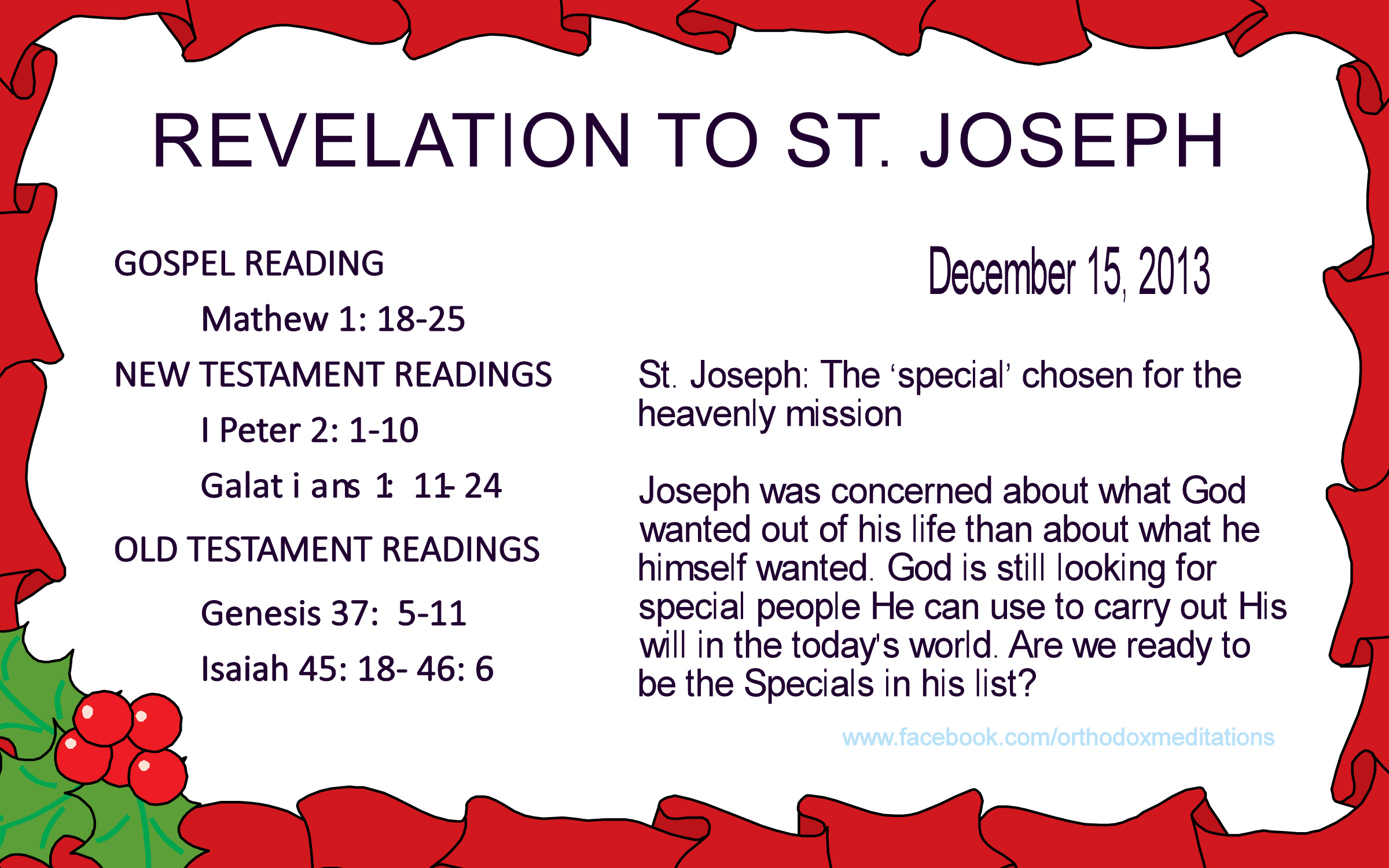 REVELATION TO ST. JOSEPH