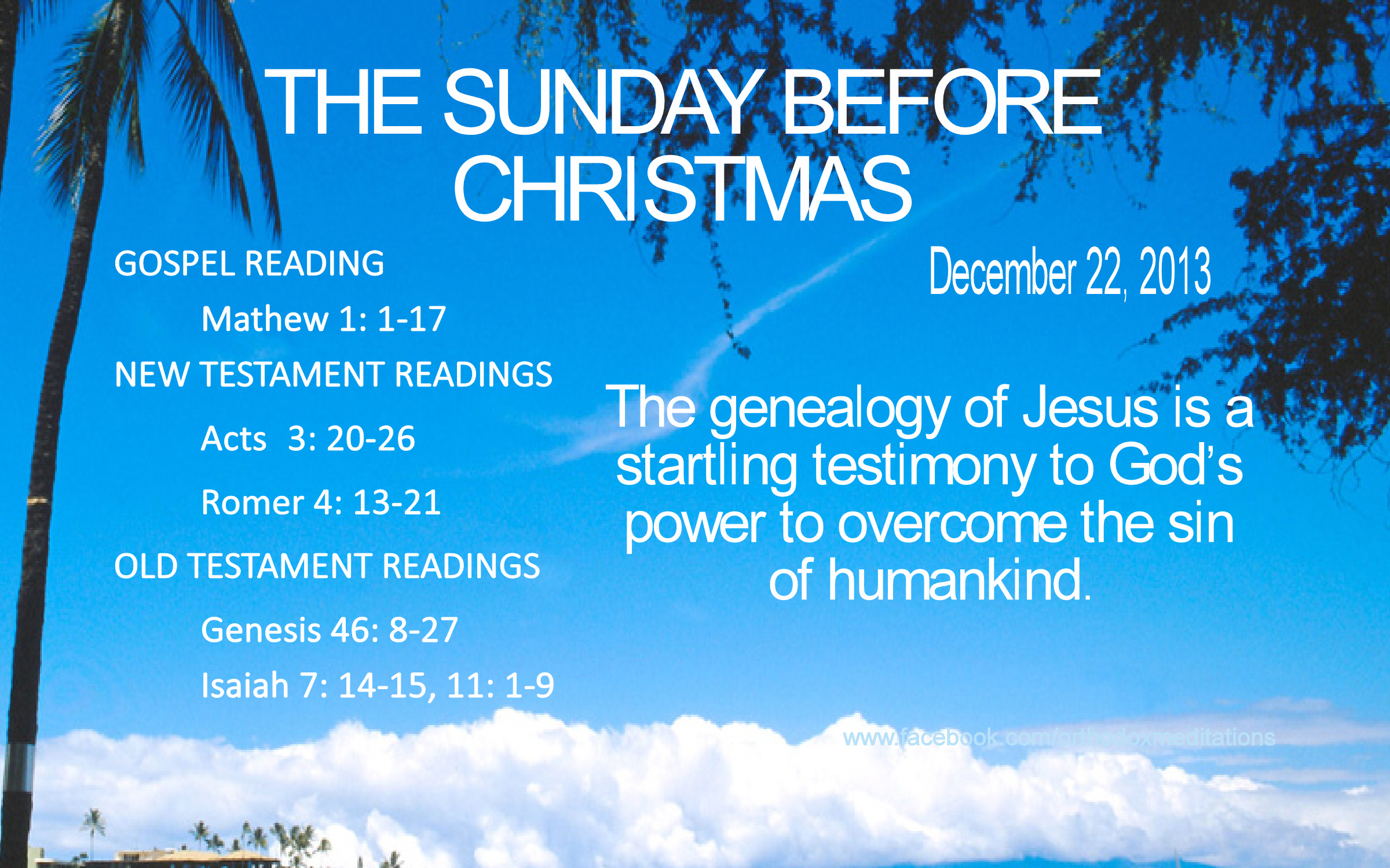 THE SUNDAY BEFORE CHRISTMAS